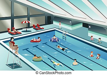 gå, folk, simning