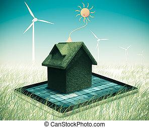 gå, grön, alternativ energi, begrepp