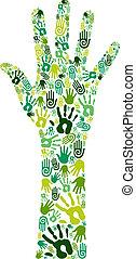 gå, grön, collaborative, räcker
