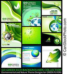 gå, grön, eco, bakgrunder, kollektion