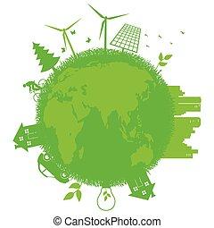 gå, grön, ekologi, begrepp