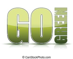 gå, grön