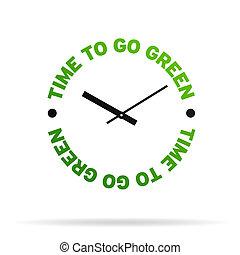 gå, grön, tid