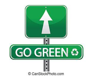 gå, grön, underteckna