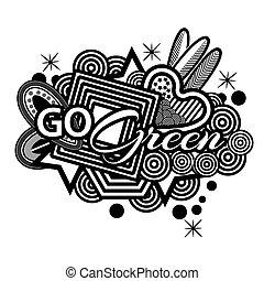 gå, grön, vektor, doodles., illustratör