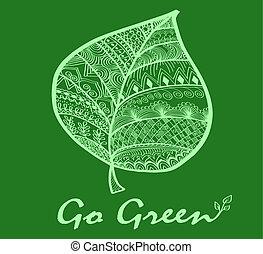 gå, grønne, symbol, blad
