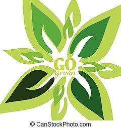 gå, grønne, vektor, blad