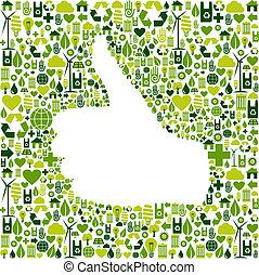 gå, hand, grön, lik, ikonen