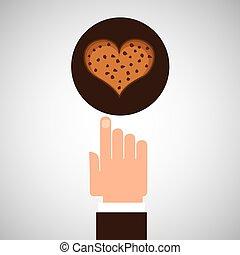gå i flisor, hand, kaka, ht, choklad