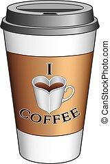 gå, kaffe, kärlek, kopp