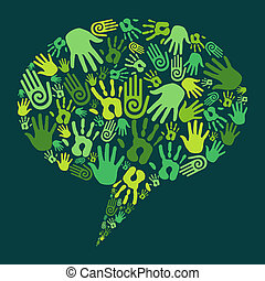 gå, kommunikation, begrepp, grön, räcker