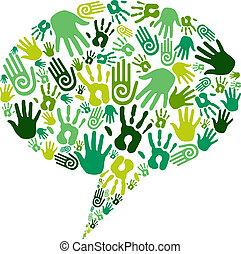 gå, kommunikation, grön, räcker