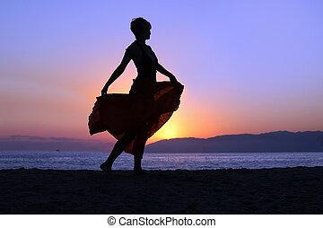 gå, kvinde, strand
