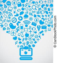 gå, media, nymodig, nedåt, dator, social, innehåll