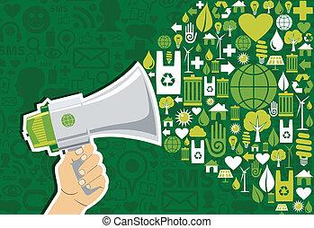 gå, medier, sociale, grønne, markedsføring