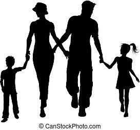 gå, silhuet, familie