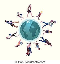 gå, skola, grupp, omkring, afrika, teenagers, illustration, bakgrund., america., vektor, eurasien, vit, world., barn