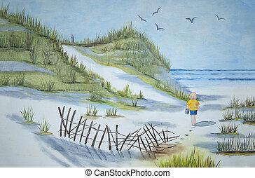 gå, strand, barn