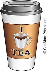 gå, te, kärlek, kopp