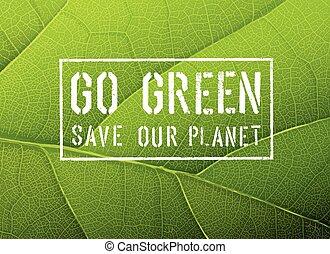gå, vektor, grön, affisch