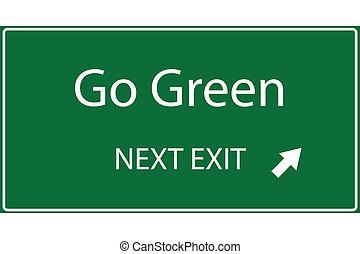gå, vektor, grønne
