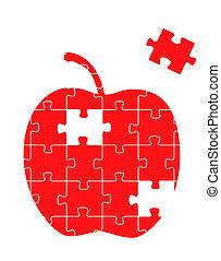 gåde stykke, æble, rød