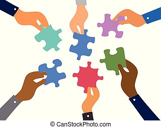 gåder, jigsaw, begreb, teamwork, firma
