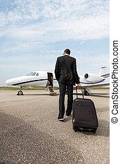 gående framemot, jet, bagage, privat, affärsman