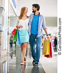 gående shoppa, tillsammans