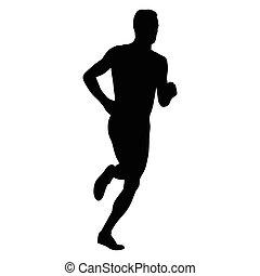 gångmatta, pojke, silhouette., sport, spring, vektor, aktiv...