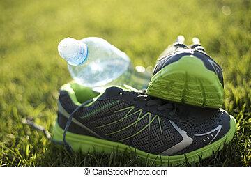gångmatta, skor, frisk livsstil, utbildning, begrepp