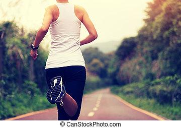gångmatta, skugga, spring, kvinna,  fitness