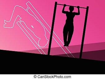 gåpåmodet, oplæring, muskler, ups, mand