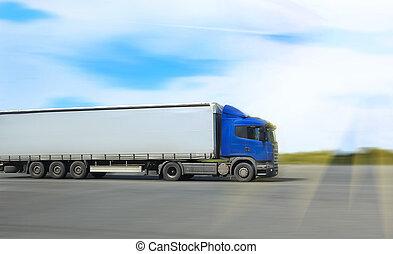 går, lastbil, vej