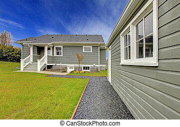gård, hus, grå, baksida, garage, fristående