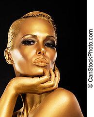 gåtfull, kvinna, fantasy., guld, ansikte, lyxvara, make-up., designa