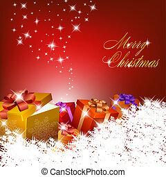 gåva, abstrakt, rutor, bakgrund, jul, röd