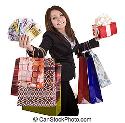 gåva, bag., boxas, pengar, womanaffär