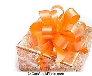 gåva bocka, papper, bakgrund, apelsin, vit, packat, trevlig
