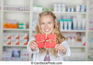 gåva, bonus, kupong, kvinnlig, apotekaren, kort