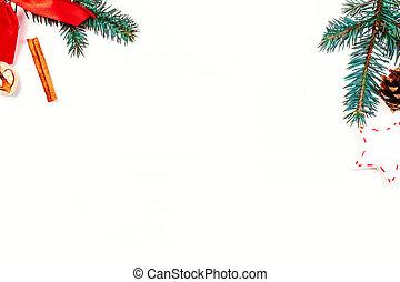 gåva, bord, din, festlig, avskrift tomrum, bakgrund, trä, vit jul, utsmyckningar, text, rutor, lov