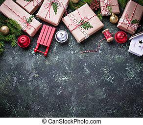 gåva boxar, bakgrund, jul