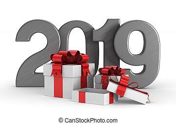 gåva, boxes., illustration, isolerat, year., 2019, färsk, ...