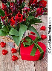 gåva, bukett, tulpaner, boc, röd