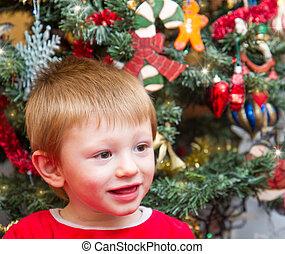 gåva, claus, barn, öppna, jul, jultomten, lycklig, tröttsam
