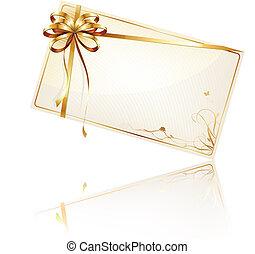 gåva, dekorerat, kort