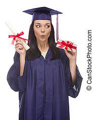 gåva, diplom, hundreds, kvinnlig, svept, akademiker, stack