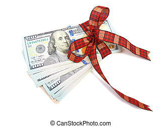 gåva, dollar, bundet, band, w, dekorerat, lagförslaget, röd