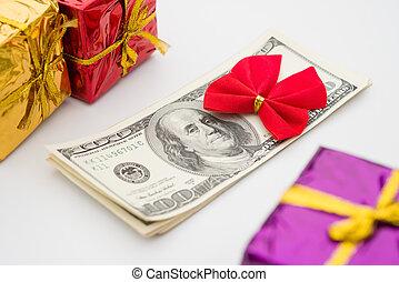 gåva, dollars, bog, rutor, stack, röd