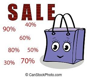 gåva, försäljning, nöje, sjal, flicka, packe